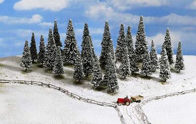 Noch 26328 - Snow Fir Trees, 25 pcs., 6 - 15 cm high