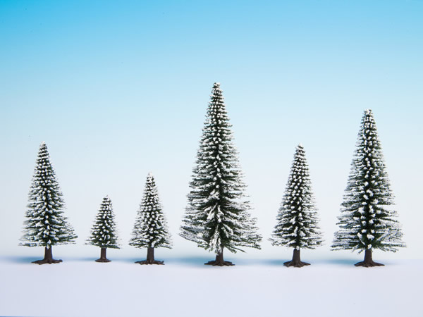Noch 26929 - Snow Fir Trees, 5 pieces, 5 - 9 cm high