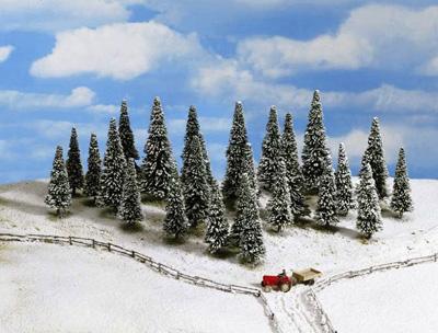 Noch 32528 - Snow Fir Trees, 25 pcs., 4 - 10 cm high