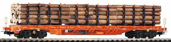 Piko 54681 - Flatcar Sgnss Wascosa VI w/Stakes & Wood Load