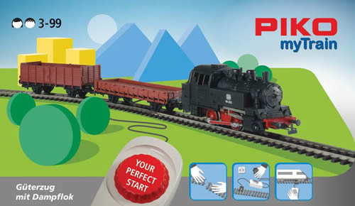 Piko 57092 - MyTrain Freight Train Starter Set with Steam Locomotive