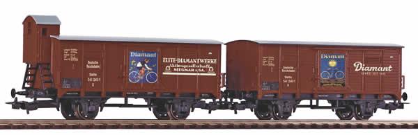 Piko 58368 - 2pc Covered Freight Car Set G02 Diamant