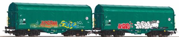 "Piko 58379 - Set of 2 sliding tarpaulin wagons ""MERCITALIA"""