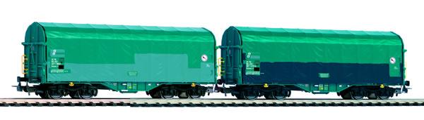 Piko 58397 - Set of two HO sliding tarpaulin wagons Shimmns of the FS