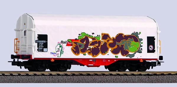 Piko 58982 - Sliding tarpaulin wagon of Rail Cargo Austria with Graffiti