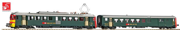Piko 96836 - Swiss 2pc Rbe 4/4 Seetal railcars with control car (DCC Sound Decoder)