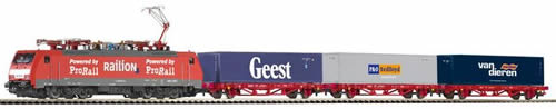 Piko 97908 - Dutch Starter Set Container Train 189 BR of the NS