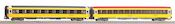 Set of 2 express train passenger cars Eurofima 1st class and 2nd class of the Regiojet