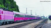 Set of 3 express train passenger cars Eurofima of the ÖBB