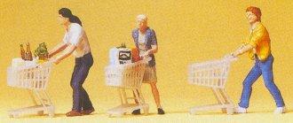 Preiser 10488 - People w/Grocery Carts 3/