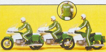 Preiser 10489 - Police On Motorcycles 3/
