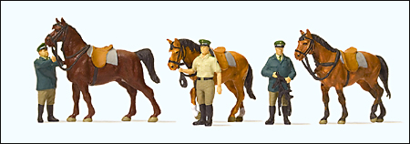 Preiser 10583 - Emergency Personnel -- Standing German Police with Horses, pkg(6)