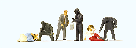 Preiser 10588 - Law Enforcement -- Robbery, pkg(6)