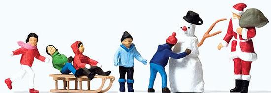 Preiser 10626 - Father Christmas, children, snowman