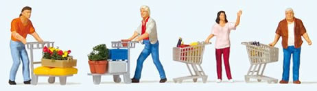 Preiser 10722 - Shoppers with Shopping Trolleys