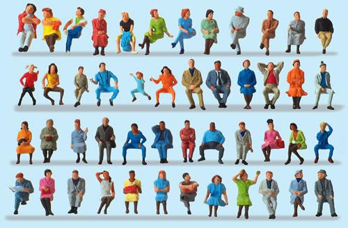 Preiser 14418 - Seated Travellers 48 figures