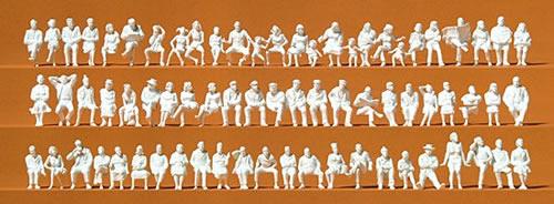Preiser 16358 - Seated Persons - 72 Unpainted Figures