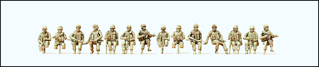 Preiser 16564 - Modern US Army Unpainted Figures -- Seated Drivers & Soldiers w/Gear pkg(14)