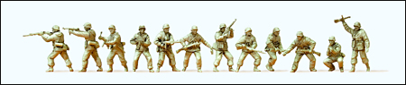 Preiser 16604 - Former German Army WWII Unpainted Figures -- Attacking Infantry in Winter Uniform 1943-45 pkg(12)