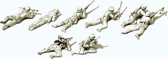Preiser 16616 - German Infantry Lying, in the battle 1939-45 Unpainted (8 Men)