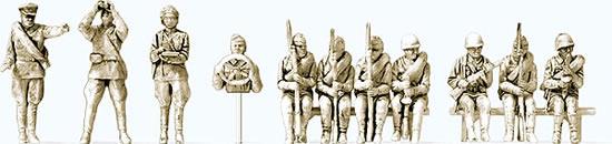 Preiser 16621 - Infantry riflemen mounted USSR 1943-45 Unpainted (11 figures)