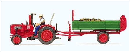 Preiser 17940 - Farm Equipment -- Fahr Tractor with Dung Spreader