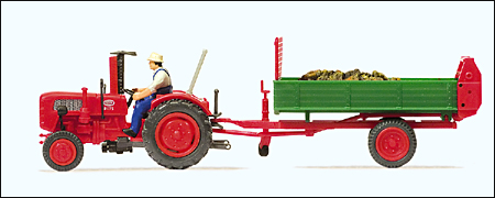 Preiser 17940 - Farm Equipment -- Fahr Tractor with Dung Spreader