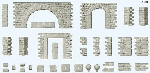 Preiser 18217 - Quarrystone walls with doorways and doorway arches, corner posts