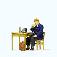 Preiser 28118 - Railroad Personnel -- Railway Man Eating Breakfast