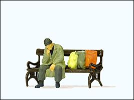 Preiser 29094 - Pedestrians -- Homeless Man on Bench