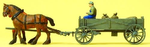 Preiser 30411 - Farmer on Box Wagon