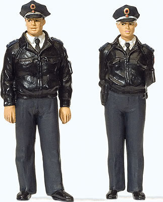 Preiser 44909 - Standing police officers in blue uniform