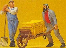 Preiser 45020 - Worker w/whl barrow 1:22