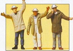 Preiser 63052 - Men In Hardhats Wvng Arms