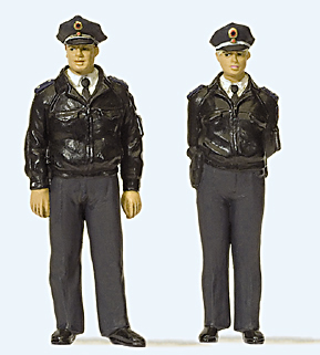 Preiser 63101 - Standing police officers in blue uniform