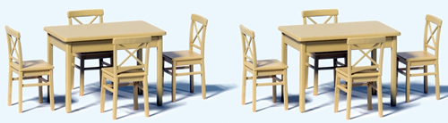 Preiser 68281 - 2 Tables and 8 Chairs - Kit