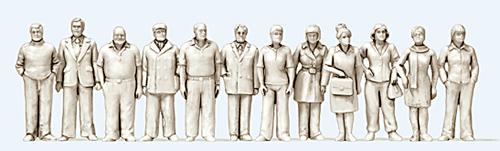 Preiser 68291 - Standing 6 Women and 6 Men - Kit Unpainted