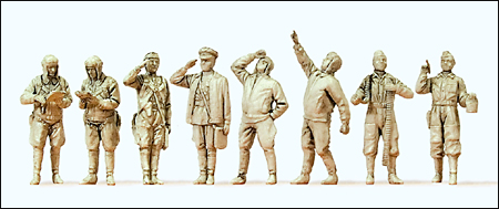 Preiser 72543 - Soviet Union WWII Unpainted Figures -- Pilots & Ground Crew pkg(8)