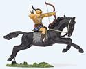 Hunter on horseback drawing bow