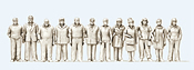 Standing Women and Men - Kit, 12 Figures Unpainted