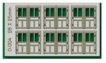 Proses D-004 - HO 6 pcs 28X25mm Double Unit Doors