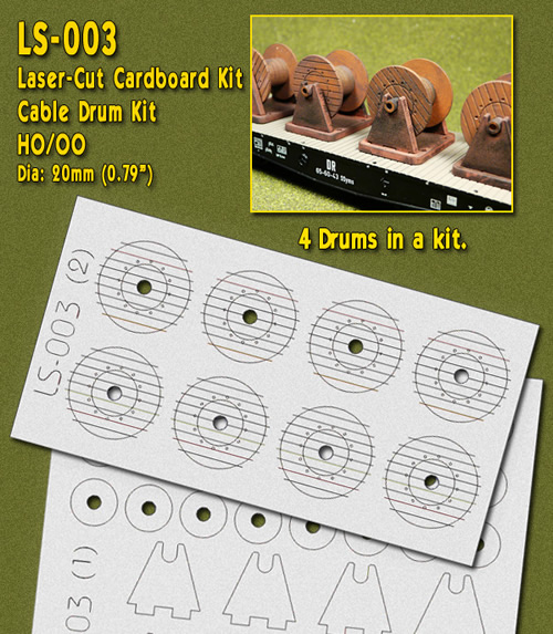 Proses LS-003 - HO Laser-Cut Cable Drums Kit (4 drums)