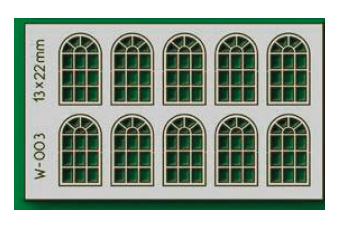 Proses W-003 - HO 10 pcs 13X22mm 14 Pane Arched Windows
