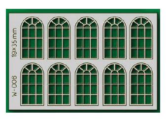 Proses W-006 - HO 10 pcs 19X35mm 14 Pane Arched Windows