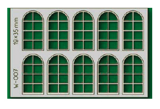 Proses W-007 - HO 10 pcs 19X35mm 8 Pane Arched Windows
