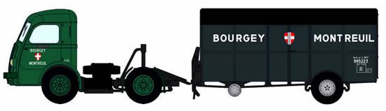 REE Modeles CB-037 - French Panhard Truck Movic BOURGEY MONTREUIL Green with Trailer UFR BOURGEY MONTREUIL