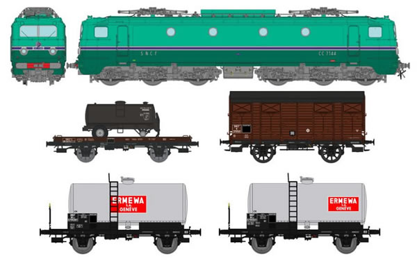 REE Modeles CM-005 - French Electric Locomotive CC7000 + 4 Freight Cars of the SNCF