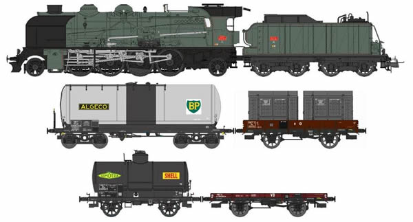 REE Modeles CM-008 - French Steam Locomotive Class 141 E 672 ALES with 4 Freight Cars of the SNCF