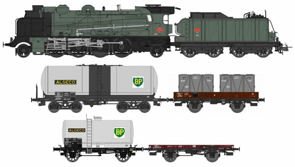 REE Modeles CM-010S - French Steam Locomotive Class 141 F 299 MONTLUCON with 4 Freight Cars of the SNCF(DCC Sound Decoder)