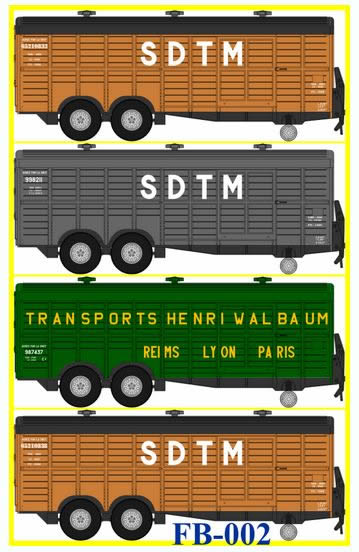 REE Modeles FB-002 - French 4pc Trailer double Axle Set - For PARK û SDTM of the SNCF